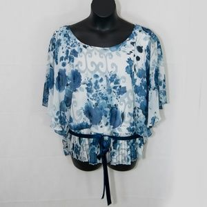 DressBarn Floral Blouse Top Career Ribbon 3X 2106X